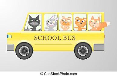 Cute animals in a bus