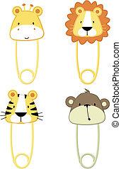 cute baby animals safety pins