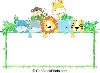 vector illustration of cute jungle baby animals with blank sign
