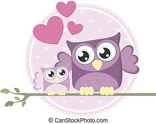 cute baby owl and mom