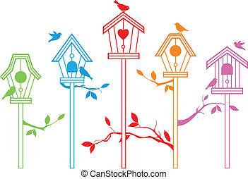 cute bird houses, vector