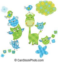cute happy birds & giraffe set for baby boy