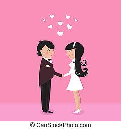 Cute Bride with groom, wedding ceremony