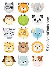 cute cartoon animals faces set. vector illustration