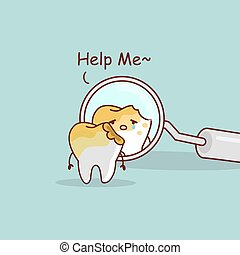 cute cartoon decayed tooth with dentist mirror, great for health dental care concept