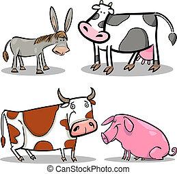 cute cartoon farm animals set