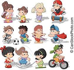 Cute cartoon kids playing