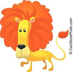 Cute cartoon lion. Vector illustration