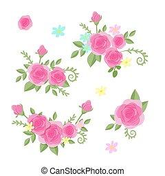 Cute cartoon set of roses flowers. Vector illustration