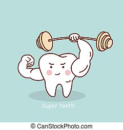 cartoon strong tooth with dumbbell