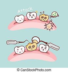 cute cartoon tooth cavity
