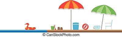 Cute cartoon vector illustration of a beach