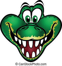 Cute Crocodile Head Mascot. Separated into layers for easy editing.