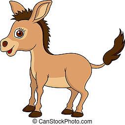 Vector illustration of cute donkey cartoon