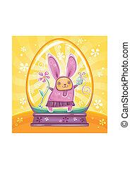Cute Easter Bunny inside of snow-do