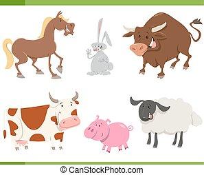 cute farm animals cartoon set