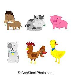 Cute Farm animals set cartoon