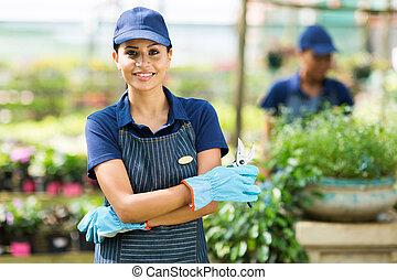 female nursery worker portrait