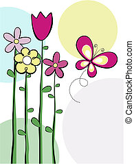 cute flowers and butterfly vector