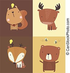 cute forest animals set.eps