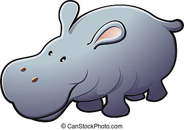 A vector illustration of a cute friendly hippopotamus