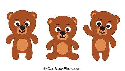 Cute funny teddy bear emoji standing, sitting, waiving - set of three bears cartoon vector illustrations