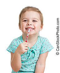 cute kid girl brushing teeth isolated on white background