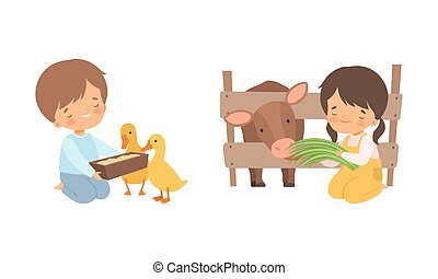 Cute Little Boy and Girl Interacting with Animal in Petting Zoo Vector Set. Smiling Kid at Children s Farm Feeding Duck and Cow with Grass Concept