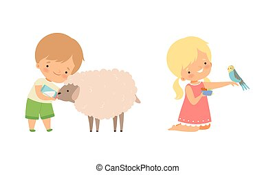 Cute Little Boy and Girl Interacting with Animal in Petting Zoo Vector Set. Smiling Kid at Children s Farm Feeding Parrot and Sheep with Milk from Bottle and Concept