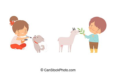 Cute Little Boy and Girl Interacting with Animal in Petting Zoo Vector Set. Smiling Kid at Children s Farm Feeding Goat and Puppy Concept