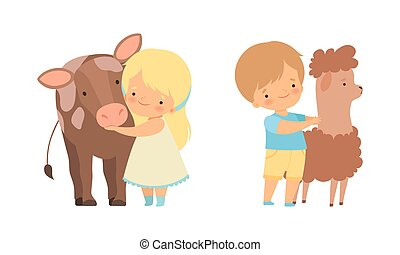 Cute Little Boy and Girl Interacting with Animal in Petting Zoo Vector Set. Smiling Kid at Children s Farm Touching Cow and Llama Concept