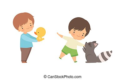 Cute Little Boy Interacting with Animal in Petting Zoo Vector Set. Smiling Kid at Children s Farm Touching Raccoon and Chick