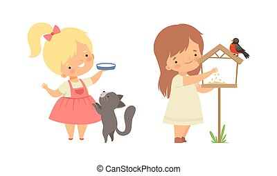 Cute Little Girl Interacting with Animal in Petting Zoo Vector Set. Smiling Kid at Children s Farm Feeding Bird in Nesting Box and Cat with Milk in Saucer Concept