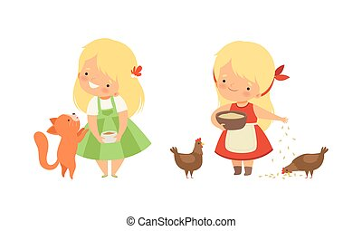 Cute Little Girl Interacting with Animal in Petting Zoo Vector Set. Smiling Kid at Children s Farm Throwing Grain to Hens and Feeding Cat with Milk Concept