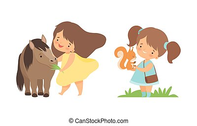 Cute Little Girl Interacting with Animal in Petting Zoo Vector Set. Smiling Kid at Children s Farm Feeding Horse with Grass and Squirrel with Acorn Concept