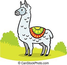 Cute llama just chilling there alone cartoon - funny hand-drawn vector illustration