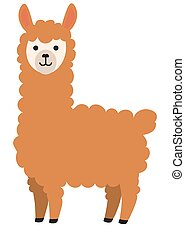 Cute llama standing alone cartoon - funny vector illustration