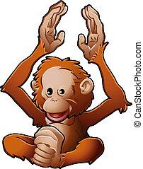 A vector illustration of a cute friendly Orangutan