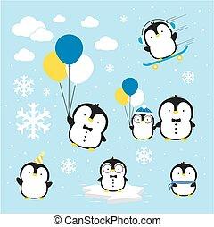 cute penguins vector