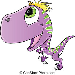 Cute Purple Raptor Dinosaur Vector Illustration