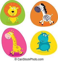 Cute safari animals set - lion...