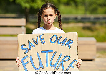 Cute Serious Girl Holding Save Our Future Sign