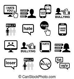 Cyberbullying vector icons set