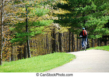 Cycling in a park