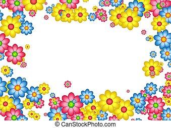 decorative floral daisy page border frame design