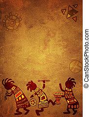 Dancing musicians. African national patterns