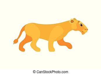 Dangerous Cat, Lioness or Wildlife Animal Vector