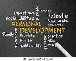 Dark chalkboard with a Personal Development illustration.