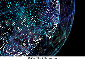 Data exchange and global network over the world 3d illustration.