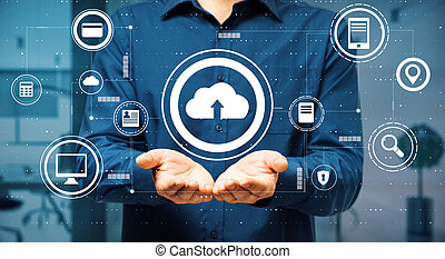 Data exchange concept with virtual cloud service buttons over man palms
